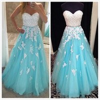 Wholesale Sweet Water Pearls - Light Blue Ball Gown Prom Dresses Sweetheart Crystal Pearls Appliqued Tulle Floor Length Corset Sweet 16 Dresses Real Quinceanera Dresses