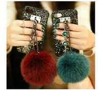 Wholesale Phone Jewel Cases - Bling Lovely Fox Hair Jewels Metal Chain Bracelet Black Phone Cases Cover Plush Fur Ball Protective Shell for Iphone6 6s plus 7 7 Plus