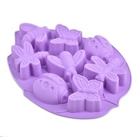 Wholesale Dragonflies Silicone Mold - Wholesale- Cake Mold 8 Hole Dragonfly Butterfly Insect Beetle Silicone Chocolate Cake Chocolate Mould DTY Baking Tools Soap Mold