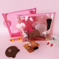 Wholesale Maquillage Korean - PVC make up organizer rangement maquillage makeup storage cosmetic bag Jelly color Transparent fast shipping F20171339