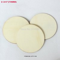 Wholesale Wholesale Unfinished Wood Crafts - Wholesale-(40pcs lot) Natural unfinished large circle wood disk cutouts round wooden disc wedding crafts save date 2 3 4 inches-CT1118