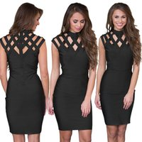 S-XXL Big Size Women Black Bodycon Dress Sexy Cut-Out Dettagli Bandage Dress Hot Ladies Club Wear Pacchetto fianchi Mini Dress Online