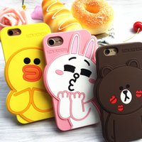 Wholesale Yellow Bear Cases - 2017 3D Soft Silicon Case For Iphone 5 6S7 7 Plus Cartoon Animals Rubber yellow duck Bear rabbit Cover
