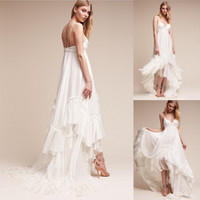 Wholesale Cheap High Low Beach Dresses - Ivory Summer Beach Bridal Gowns Spaghetti Straps Boho Wedding Dress 2017 New Arrival Bohemian High Low Style Cheap Wedding Dresses