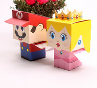 Wholesale Mario Favor Boxes - 100pcs 6*6*6cm Wedding Candy Boxes Paper Creative Cute Super Mario Paper Chocolate Boxes Party Gifts Packaging Box Wedding Supplies