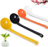 Wholesale Candy Scoops Wholesale - Cute Candy Color Round Head Scoop Non-toxic A5 Melamine Long Handle Ladle Imitation Porcelain Chinese Spoons