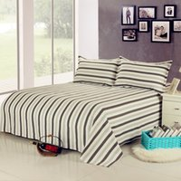 Wholesale 100 Cotton simple stripe bed sheet and pillowcases set cool and breath freely
