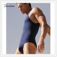 Wholesale Tights Nylons Plus Size - Taustiem Brand Men Underwears Men's Cotton Tight Body Underwear Men Sexy Singlet Bodysuit Wrestling Leotard Male Casual Shapers