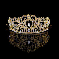 Wholesale Bridal Golden Crown - Europen baroque style rhinestone queen wedding crown tiaras golden silver bridal crystal tiara hair jewelry accessories