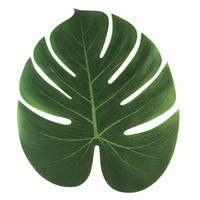 ingrosso foglia decorativa artificiale-35x29 cm Foglie di palma tropicale artificiale per Hawaii Luau Decorazioni per feste Beach Theme Wedding Table Decoration Accessories