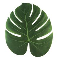düğün için dekorasyon aksesuarları toptan satış-35x29 cm Hawaii Hawaii Tropikal Tropikal Palmiye Yaprakları Parti Süslemeleri Plaj Tema Düğün Masa Dekorasyon Aksesuarları