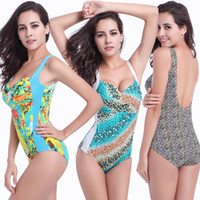 Wholesale High End Chests - 2017 New Hot Women's Bikini Sexy Swimsuit Multi-Color Printing Retro Poles Large Size Was Thin Piece Swimsuit High-End Chest Swimwear