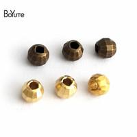 lazer boncuklar toptan satış-BoYuTe Boncuk 100 Adet 3 Renkler 6 MM Yuvarlak Metal Pirinç Boncuk Diy Lazer Boncuk Takı Yapımı için