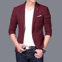 Wholesale Korean Tuxedo Jackets - Wholesale- Men Long sleeve Suit jacket jaqueta masculina Men's Cool Trendy slim fit Blazers Korean style casual tuxedo blazer masculino