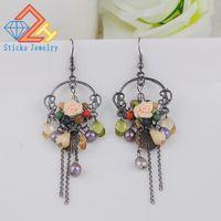 handgewebte perlen großhandel-Bunte Retro Modeschmuck Ohrring Charms Resin Blumen und Nachahmung Perlen Ohrring ethnischen Hand-Woven