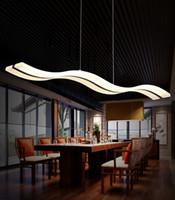 Wholesale Chandelier S - 38W Wave Chandelier LED Pendant Lights Living Room Simple S shaped Acrylic Indoor Droplight Home Lighting Fixture