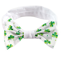 Wholesale Clover Bow - 10 Pcs lot New Fashion High Quality Clover Headband Shamrock Hairbands with Bow for Baby Girls Hair Accessories Headwear