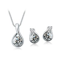 Wholesale bridal jewellery china resale online - bridal wedding jewelry sets of drop tears jewellery sets for women white gold color plated bijoux best Valentine s Day gift
