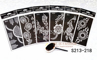 Wholesale tattoo girls sexy - Wholesale-6pcs lot Popular lots of patterns Temporary Tatto stencils for painting Template Henna tattoo hands feet Painting Kit sexy girl