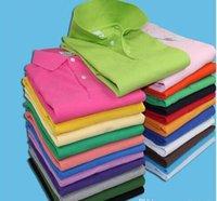 atlar gömlek moda toptan satış-Yeni 2018 Moda Marka Erkekler Küçük At Nakış Polo gömlek Katı Renk kısa Kollu Slim Fit Gömlek Erkekler Pamuk polo Gömlek Casual Gömlek