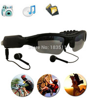 reproductor de mp3 azul video al por mayor-Gafas de sol inteligentes Gafas de la cámara Gafas de música Soporte Tarjeta TF Grabadora de video DVR DV Videocámara MP3