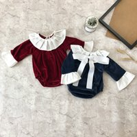 Wholesale Shorts Babys - Baby Girls Romper Soft Winter Autumn Long Sleeve Warm Velvet Babys Jumpsuits Baby Girl Clothing 6 p l