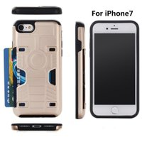 Wholesale Dual Rs - For iPhone 7 6s 6plus Apple Card Slot Shell V-RS DESIGN Case Dual Layers Card Slot Back Cover TPU PC Protector Stand Holder with Retail Box