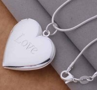 Wholesale New Photos Love - 2017 new 925 silver plated heart Love Pave Locket Necklace fashion jewelry Valentines gift photo Locket