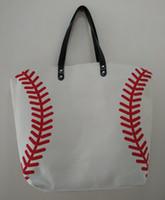 Wholesale White Cotton Material Wholesale - wholesale 2pcs Baseball Tote Bags Sports Bags Casual Tote Softball Bag Football Soccer Basketball Bag Cotton Canvas Material