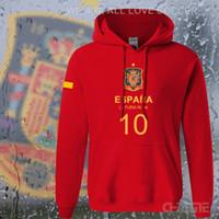 Wholesale Spain Long Sleeve - Wholesale- Spain nation team hoodiesmen sweatshirt sweat suit streetwear socceres jersey footballer tracksuit Spanish fleece 2017 ES ESP