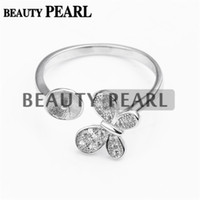 Wholesale Mounted Butterflies - Bulk of 3 Pieces Butterfly Ring Jewellery Findings Sterling 925 Silver for DIY Pearl Ring Mount