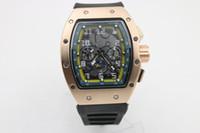 gummi chronographen uhren großhandel-hochwertige Man luxury 011 Uhr Marke Gummi Edelstahl Automatische Maschinenuhr
