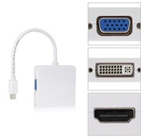 şimşekli vga kablosu toptan satış-YENI 3 in1 Thunderbolt Mini Displayport DP HDMI DVI VGA Adaptörü Apple MacBook Pro Mac Kitap Hava için Ekran port Kablosu