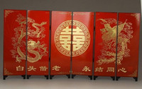 Wholesale BLESSING CHINESE NICE WEDDING GIFTS HANDWORK PAINTING DRAGON PHOENIX SCREEN