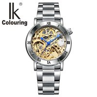 Wholesale Women Watches Colour - IK colouring Watch Women Roman Skeleton Watches Auto Mechanical Wristwatch with Orignial Box