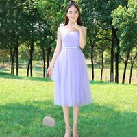 Wholesale Tea Party Dresses Womens - 2017 sexy hot seller new womens sexy party dresses short formal tea length lavender tulle dress gowns evening gown H3811