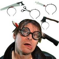 Wholesale Gold Scissors - Halloween Easter Party Trick Headdress Head Hoop Fool Props Wear Head Axe Wear Scalp Saw Scissors Costume Haunted House Terror Props