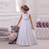 Discount child birthday dress fashion Fashion Satin Flower Girl Dresses for Wedding Princess Little Girls Kids Child Dress 2017 New A-Line Party Birthday Pageant Communion Dress