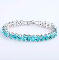 Wholesale Crystal Rome - Korean Rome Austrian Crystal Bangle Women Full Rhinestone Colorful Tennis Bracelets Wedding Party Jewelry Free Shipping
