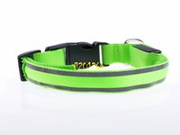 ingrosso cani leggeri-100pcs / lot Nylon Pet Dog LED Collar Lampeggiante LED Collar LED di sicurezza Lampeggiante Light Up Collare per cani con striscia riflettente
