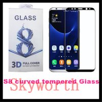 Wholesale color tempered glass online - For S8 Plus galaxy A3 A7 LG K7 K10 Tempered Glass full screen color protector d Curved S6 S7 Edge Full Cover