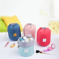 Barrel Shaped Travel Cosmetic Bag Nylon Poliéster High Capacity Drawstring Elegante Drum Wash Bags Makeup Organizer Storage Bags 2804012