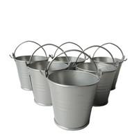 Wholesale Wholesale Tin Buckets Pails - D6*H5CM silvery Metal mini Pail Tin bucket Rustic Succlents Pots Decorative Galvanized Meat plant pot Iron pots