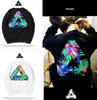 Wholesale New Mens Cashmere Sweaters - New Trend Palace Hoodie Fashion Mens Skateboards Sweatshirts PALACE hip hop color flower cotton round neck sweater cashmere with triangle