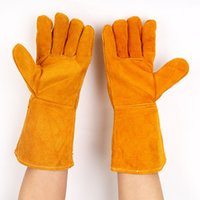 Wholesale Work Welding - Cowhide Lengthening Welding Gloves Double-deck Heat resisting Comfortable Wear resisting Gloves for Workers Safely Security Working