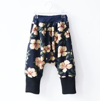Wholesale Girls Floral Harem Pants - Baby pants boys girls floral printed haroun pants winter toddler kids velvet thicken leisure warm trousers kids corduroy pants R0388