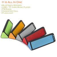 Wholesale Small Bluetooth Wireless Speakers - Flashlight Bluetooth Speakers Radio USB Tf Card Mp3 Music Player Speakerphone Small Portable Loud with Volume Control Mic Green Red Quality