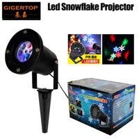 Wholesale usa leds - Gigertop TP-E32 Led Snowflake Light Waterproof IP65 with 4x1W RGBW Leds Rotation Snow Gobo Wheel Land Building Wall Projector