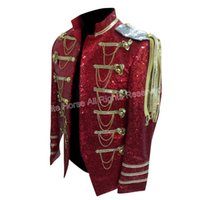 Wholesale Men Colored Blazer - Wholesale- 2016 Men Costume Classic Men's Colored Blazer Mens Sequin Dance Jacket Vetement Homme Clothing for Men Red Sequin Blazer Men