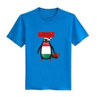 Wholesale Hungary Free - Men's Hungary Penguin say Merry Christmas T-shirts Short Sleeve Man Clothing Free Shipping